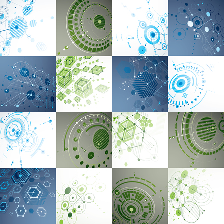 overlie: Set of modular Bauhaus 3d vector backdrops, created from geometric figures like hexagons, circles and lines. For use as advertising poster or banner design. Perspective abstract mechanical schemes. Illustration