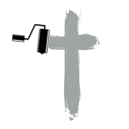 smudge: Religious cross vector simple illustration created with smudge brushstrokes. Spiritual symbol, art drawing of crucifix. Illustration