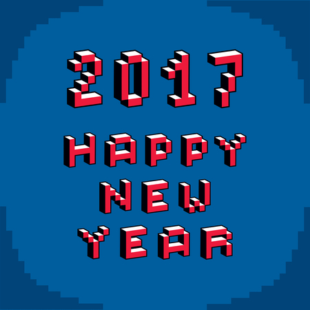 8 bit: Happy 2017 New Year phrase created in digital technology style, vector 8 bit. Celebration theme pixel art inscription.