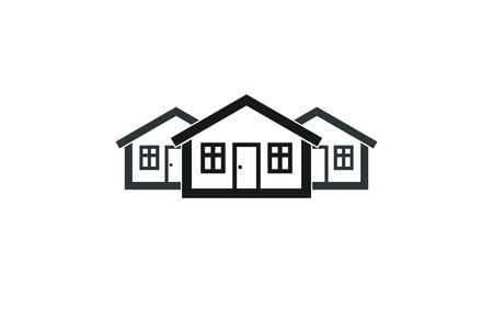 business district: Abstract simple country houses vector illustration, homes image. Touristic and real estate idea, three cottages front view, district. Construction business or property developer theme.