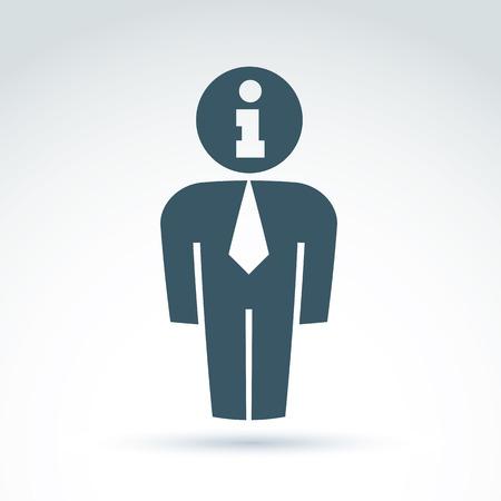 delegar: Silueta de la persona de pie delante - ilustraci�n vectorial de un gerente de oficina. Delegado, consultor, trabajador de cuello blanco. Informaci�n vectorial s�mbolo, concepto de servicio de consulta.