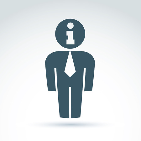 Silhouette of person standing in front - vector illustration of an office manager.  Delegate, consultant, white-collar worker. Vector information symbol, consultation service concept. Illustration
