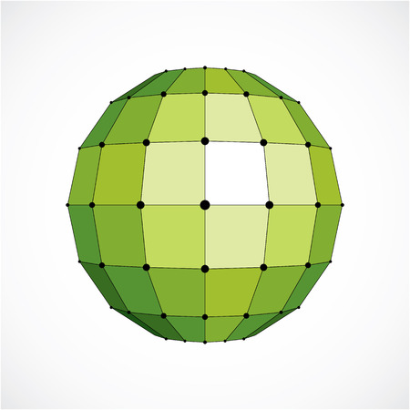 trigonometry: 3d vector digital wireframe spherical object made using facets. Geometric polygonal green structure created with lines mesh and squares. Low poly shape, lattice form for use in web design.