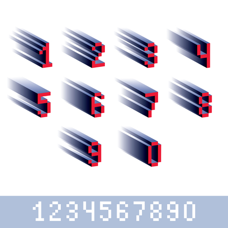 numeration: Vector modern tech whole numbers set. Geometric pixilated digits, 3d dotted 8 bit numeration from 0 to 9.