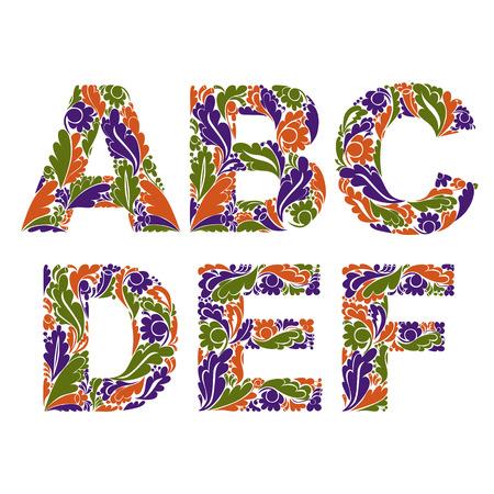 drop cap: Beautiful floral font, decorative letters with vintage pattern. A, B, C, D, E, F. Illustration