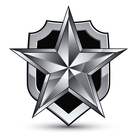 silvery: Sophisticated vector blazon with a silver star emblem, silvery 3d pentagonal design element, metallic clear EPS 8. Illustration