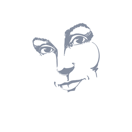 melancholic: Creative hand-drawn art portrait of white-skin melancholic lady, silhouette of woman face.  Face emotions theme illustration. Beautiful girl posing on white background, outline.
