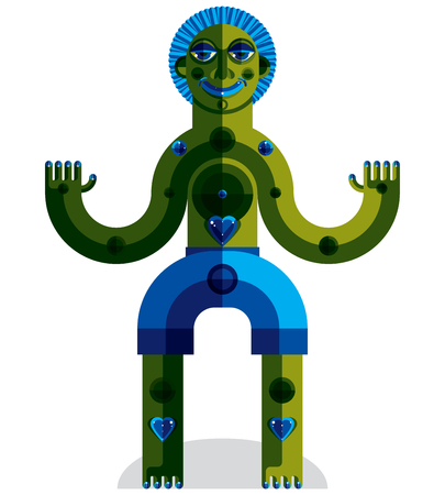 mythic: Vector avant-garde illustration of mythic person, pagan symbol.  Modernistic graphic picture, anthropomorphic character isolated.