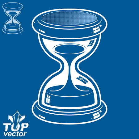 pour: Smooth detailed vector white sand-glass. Old-fashioned elegant 3d hourglass with pour sand. Time without end conceptual icon, includes invert version. Web design element. Illustration