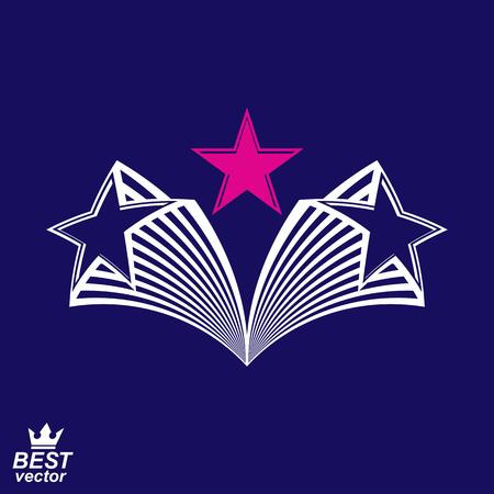 noble: Heraldic simple noble design element, celebrative pentagonal flying stars. Corporate brand emblem, luxury stylized object, graphic symbol.