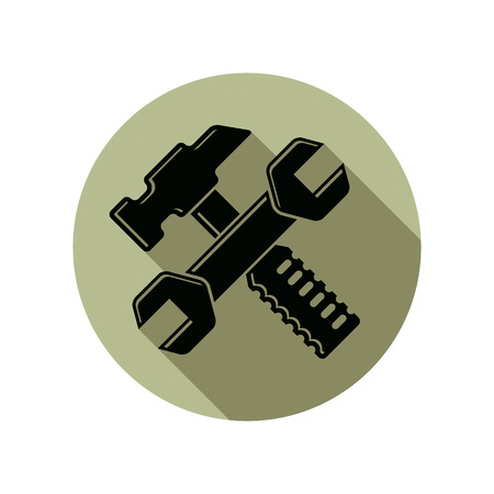 mallet: Detailed vector illustration of hammer and wrench crossed, work tools. Industry utensil symbol, mallet and spanner