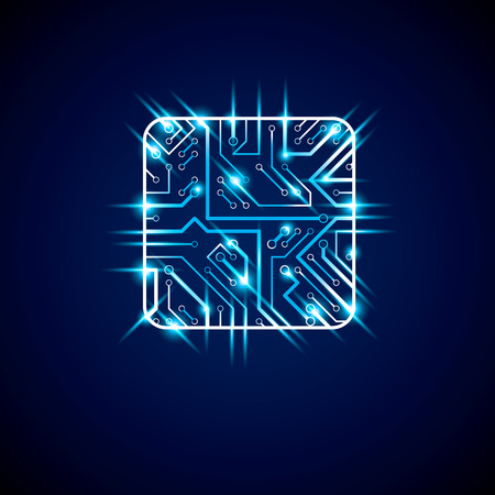 luminescent: Collection of vector microchip design, cpu. Information communication technology element with sparkles and neon lights, luminescent circuit board in the shape of square.