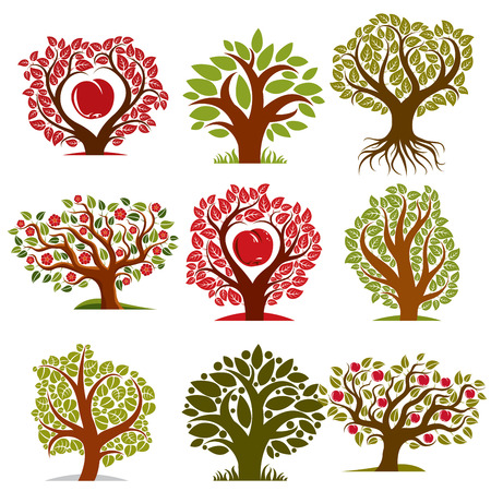 fruitful: Vector art drawn trees with ripe apples and beautiful red blossom. Harvest season idea eco symbols, can be used as ecology and environmental conservation concept.