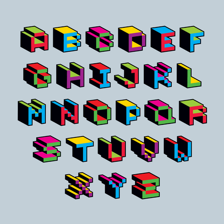 8 bit: Vector font, typescript created in 8 bit style. Pixel art contemporary capital letters set, 3d digital design elements.