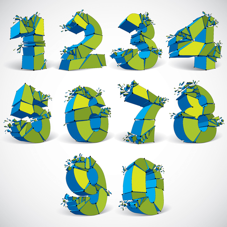 numeration: Set of 3d vector green wireframe numbers broken into different fragments, geometric polygonal numeration with lines mesh. Low poly shattered typescript, perspective lattice elements. Illustration
