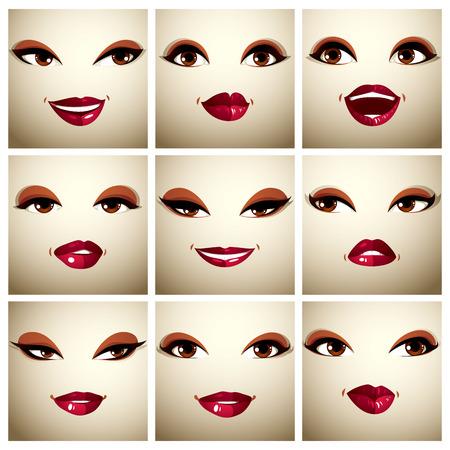 mujeres morenas: Conjunto de vectores de bellos retratos sencillos femeninos con estilo de maquillaje, ojos negros y labios rojos. Las mujeres se enfrentan características que expresan diferentes emociones.