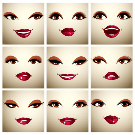brown eyes: Set of vector beautiful female simple portraits with stylish makeup, brown eyes and red lips. Women face features expressing different emotions.