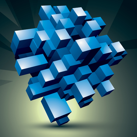 facet: 3D modern stylish abstract construction, blue facet object constructed from different geometric parts.