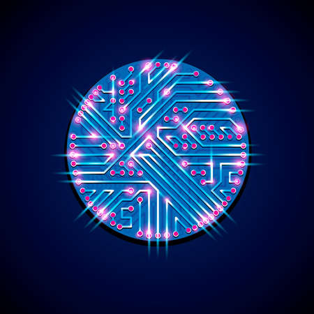 high tech device: Vector abstract luminescent technology illustration, round blue neon circuit board with sparkles. High tech circular digital scheme of electronic device.