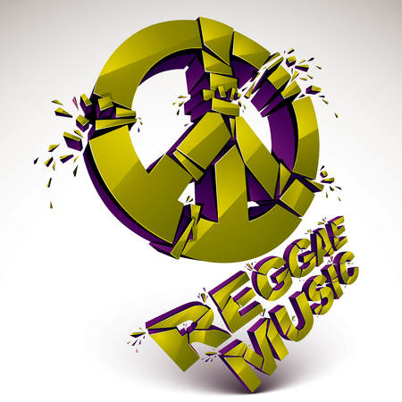 shatter: Green 3d vector peace sign created from refractions isolated on white. Three-dimensional transform design element. Reggae music theme