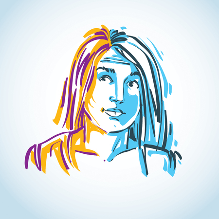 personality: Vector illustration of young elegant female, art image. Colorful portrait of attractive lady, face features and personality emotions.