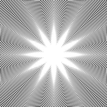 trance: Illusive background with black chaotic lines, moire style. Contrast geometric trance pattern, vector optical backdrop.