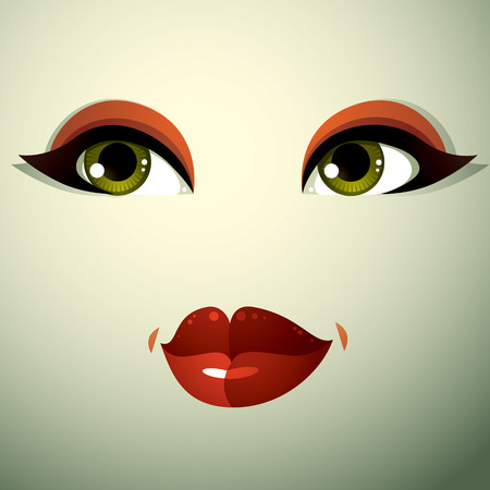 visage: Facial expression of a young pretty woman. Coquette lady visage, human eyes and lips. Illustration