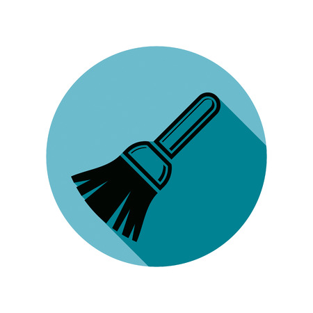 whitewash: Renovation instrument used in whitewash, brush for wall painting. Classic reparation tool. Building theme vector graphic design element. Illustration