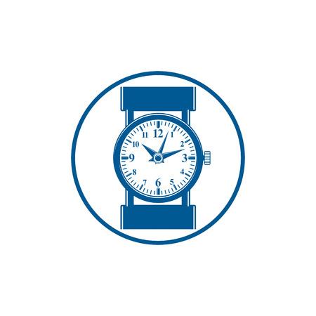 hour hand: Simple wristwatch graphic illustration, classic hour hand symbol. Time management idea design element. Illustration
