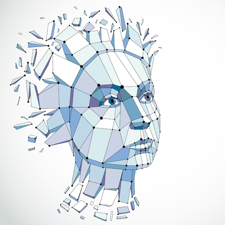 3d vector illustration of human head created in low poly style. Face of pensive female, smart person. Intelligence allegory, artistic deformed wireframe object broken into splinters and fragments. Illustration