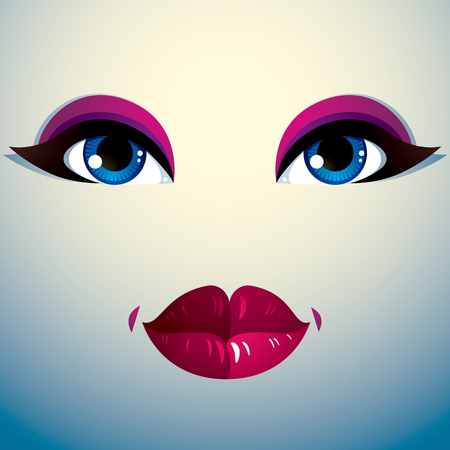 countenance: Emotional expression on the face of a cute girl. Beautiful distrustful woman with a stylish makeup. Illustration