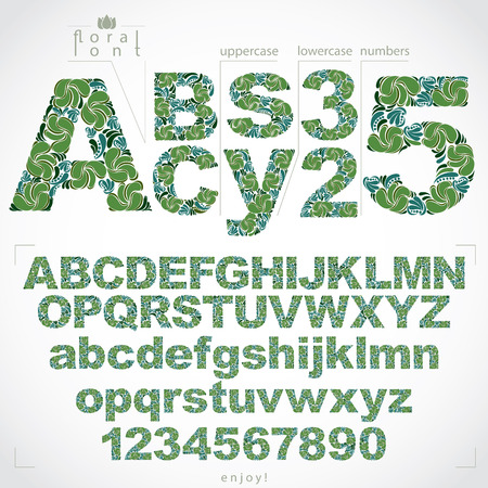 typescript: Floral font and numbers, hand-drawn vector alphabet letters decorated with botanical pattern. Ornamental typescript and numeration from 0 to 9, vintage design. Illustration