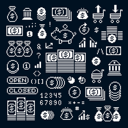 8bit: Vector pixel icons isolated, collection of 8bit graphic elements. Simplistic digital signs created in business and finance theme. Illustration
