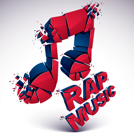rap music: Red 3d vector shattered musical note with specks and refractions. Dimensional facet design music demolished symbol. Rap music theme.