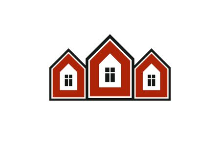locality: Colorful holiday houses vector illustration, home image. Touristic and real estate creative emblem, cottages front view. Countryside theme.