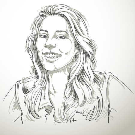 glad: Monochrome vector hand-drawn image, happy smiling young woman. Black and white illustration of glad or jolly girl with beautiful long wavy hair.