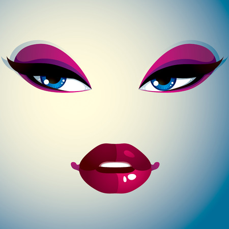 reflecting: Cosmetology theme image. Young pretty lady. Human eyes and lips reflecting a facial expression, doubt. Illustration