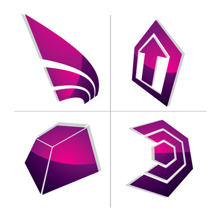 set the intention: Set of 3d abstract symbols, arrows. Business growth concept vector design elements, innovations theme icons.