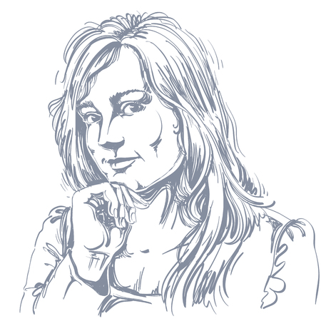 hot temper: Vector el dibujo del arte, retrato de niña preciosa flirteo aislado en blanco. Las expresiones faciales, las personas emociones positivas.