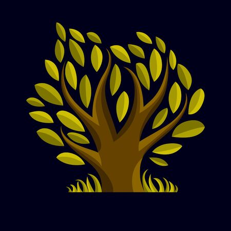 genealogy tree: Art vector illustration of tree with green leaves, spring season, can be used as symbol on ecology theme.