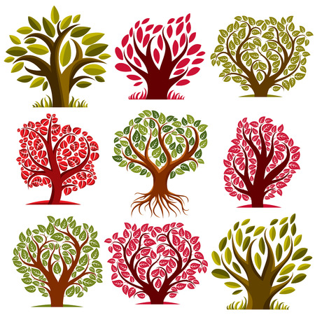 botany: Art vector seasonal trees collection, can be used as design symbol on ecology and nature theme. Gardening theme, botany symbols. Illustration