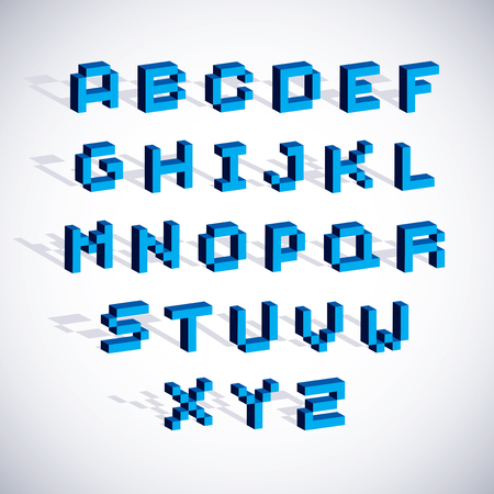 typescript: Cybernetic 3d alphabet letters, pixel art vector digital typescript. Pixel design elements, contemporary dotted font made in technology style.