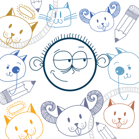 skeptic: Vector art colorful drawing of happy person, education and social network design elements isolated on white. Allegory illustration, emotions and human temperament concept.