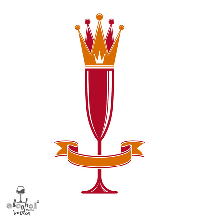 sparkling wine: Champagne glass with beautiful royal crown, sophisticated goblet full with sparkling wine. Queen of the evening conceptual illustration, celebration theme eps8 object. Illustration