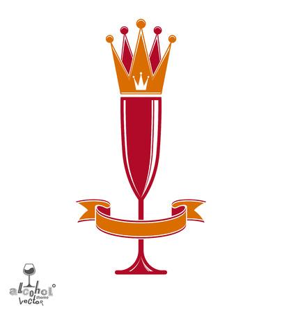 glas sekt: Champagner-Glas mit sch�nen K�nigskrone, anspruchsvolle Becher voll mit Sekt. K�nigin des Abends konzeptionelle Illustration, Feier Thema eps8 Objekt. Illustration