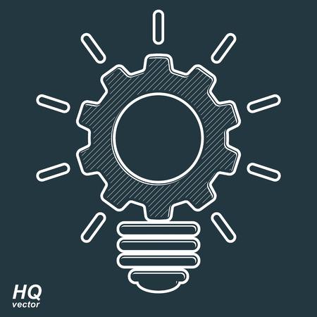 cog wheel: Vector light bulb shape, high quality cog wheel. Technical solution symbol, business idea icon, retro graphic gear. Industry innovation design element. Illustration