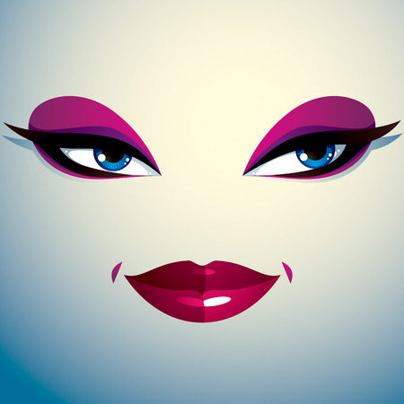 reflecting: Cosmetology theme image. Young pretty lady. Human eyes and lips reflecting a facial expression, passion. Illustration