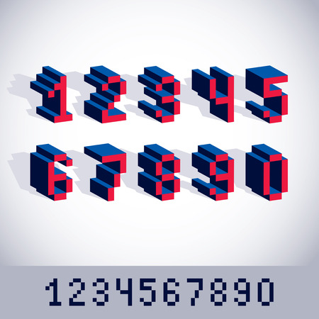 8 bit: Vector digits, numerals created in 8 bit style. Pixel art numbers set, 3d mathematics design elements.