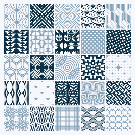 entwine: Vector ornamental black and white seamless backdrops set, geometric patterns collection. Ornate textures made in modern simple style.