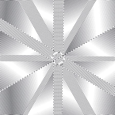 tiling: Moire pattern, op art vector background. Relaxing hypnotic backdrop with geometric black lines. Abstract tiling.